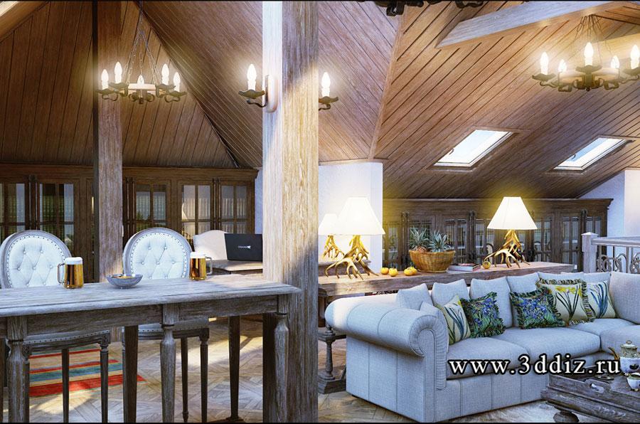 Дизайн интерьера мансарды в стиле шале