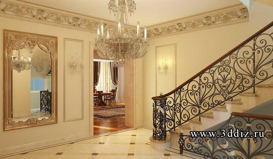 Дизайн лестницы в классическом стиле