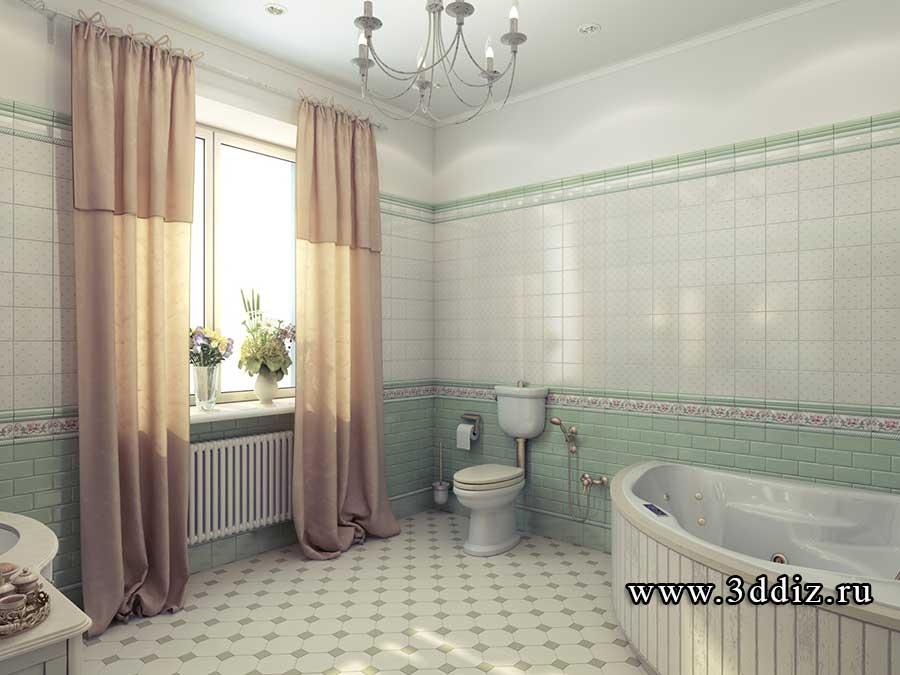 Интерьер ванной комнаты прованс