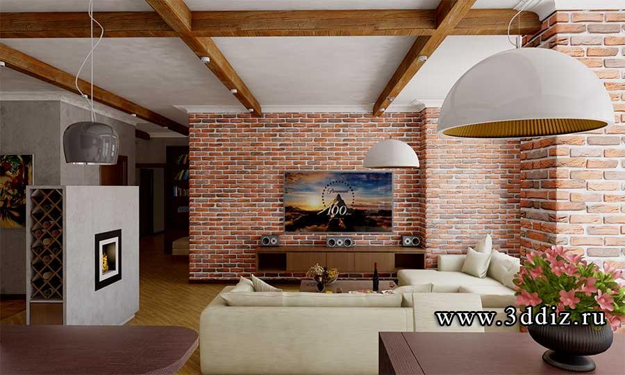 дизайн квартиры с элементами лофт