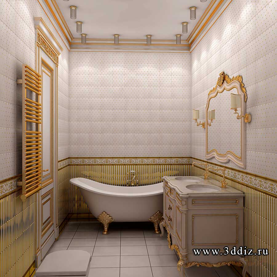 Дизайн двухкомнатной квартиры ванная в классическом стиле