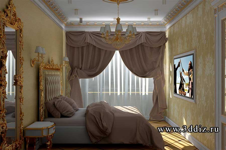 Дизайн двухкомнатной квартиры спальня в классическом стиле