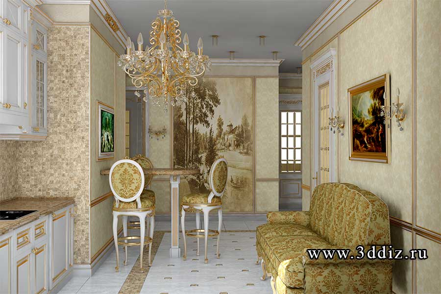 Дизайн двухкомнатной квартиры гостиная в классическом стиле