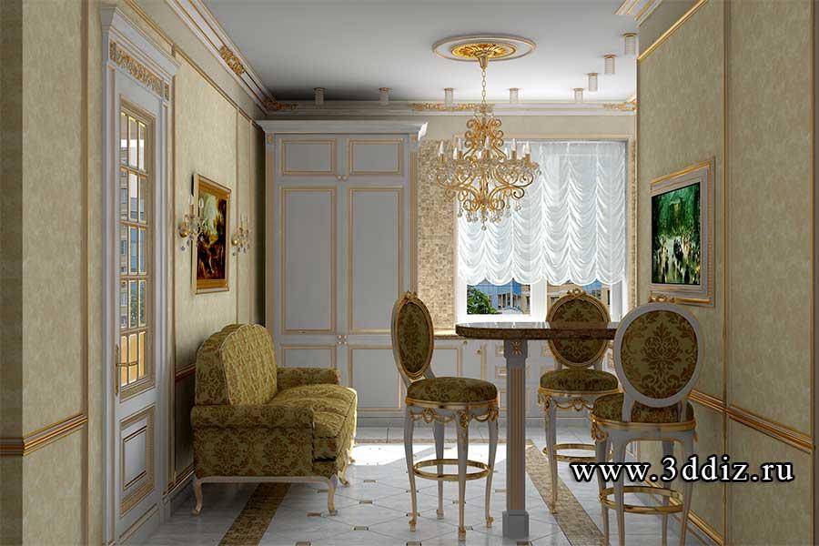 Дизайн двухкомнатной квартиры кухня в классическом стиле