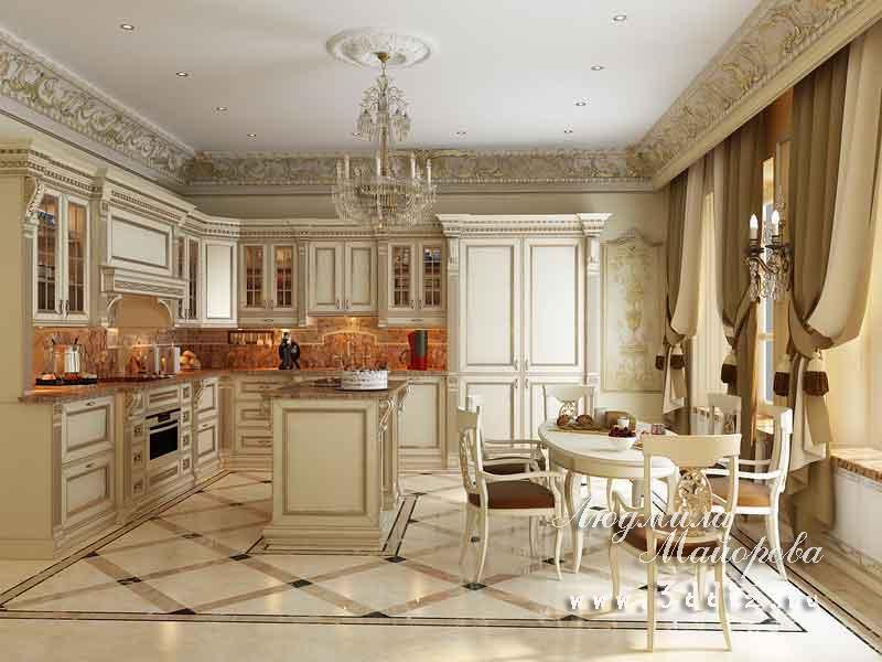 дизайн интерьера кухни в классическом стиле фото